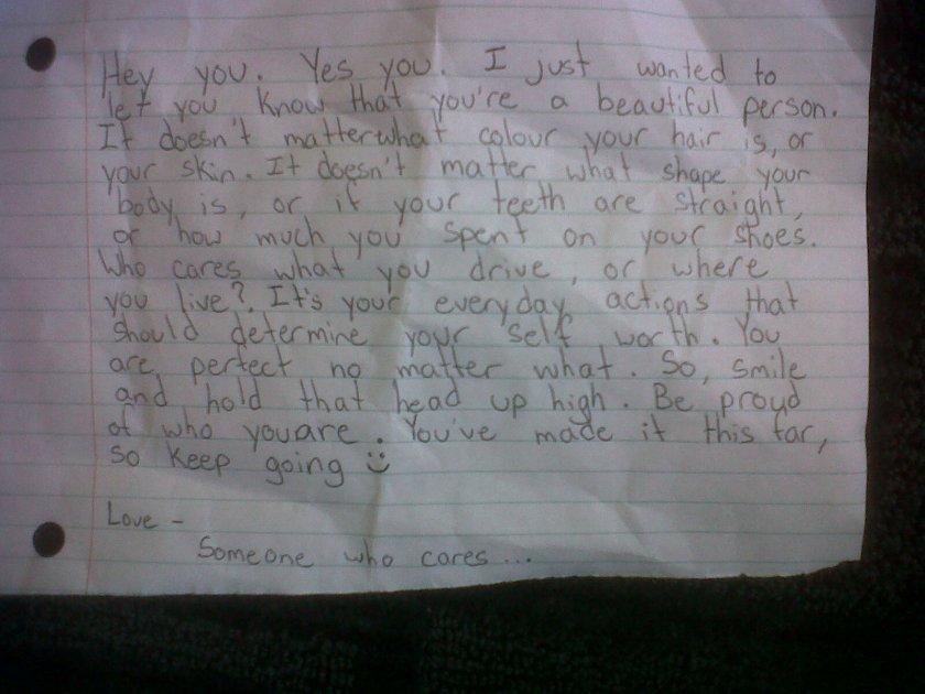 Note left on a windscreen...