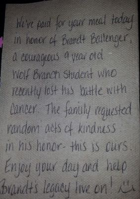 The first napkin that ever moved me to tears.