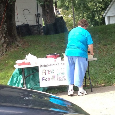 This sweet little old lady puts out food everyday to feed those that are hungry.