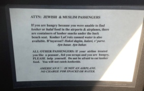 attention Jewish and Muslim passengers