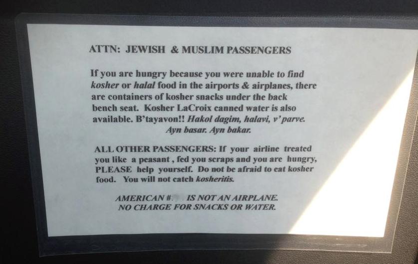 attention Jewish and Muslim passengers