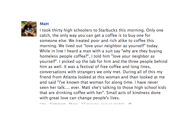 free coffees, sharing, facebook status