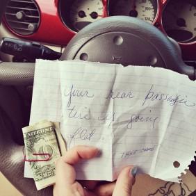 Random act of kindness. Note left on Fiancé's car in Target parking lot. Dover, DE
