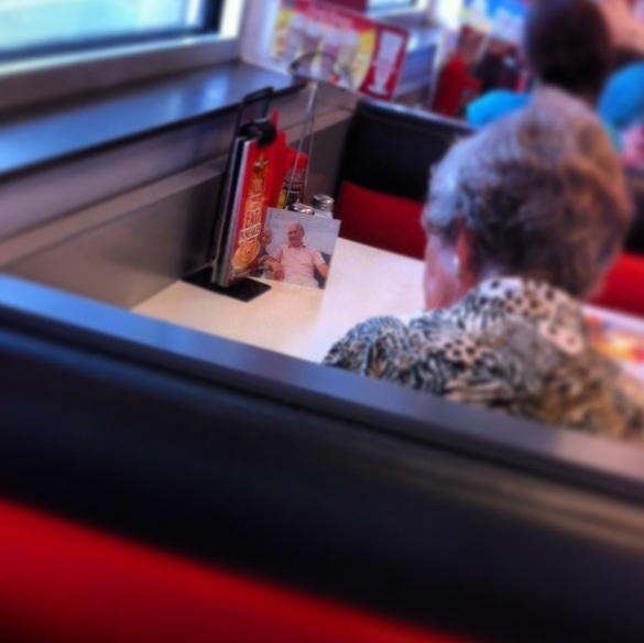 My girlfriend works at Steak 'n Shake. This woman's husband passed away but she still has lunch with him everyday.