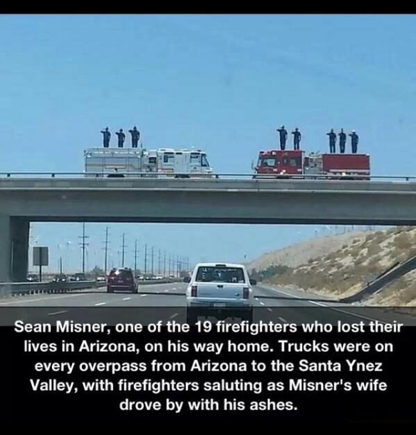 firefighters paying their respects