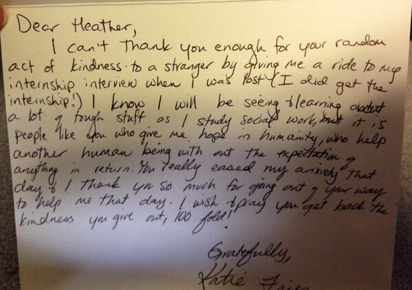 you really eased my anxieth that day kindness letter