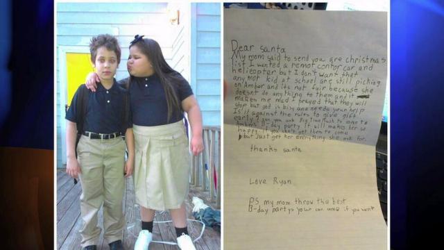 boy asks santa to help his bullied sister