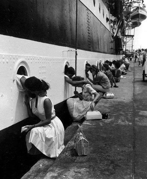 In 1963, wives say goodbye to their loved ones in the Navy. Beautiful photo