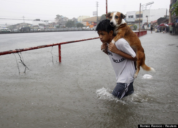 A boy carries his dog
