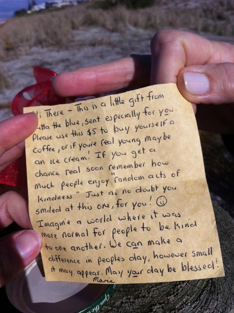 A viewer discovered this random act of kindness note on Mount Beach