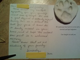 a card from the vet