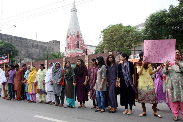 200-300 people formed a human chain outside the St Anthony's Church adjacent to the District Police Lines at the Empress Road