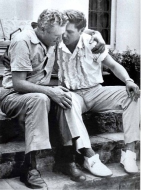 The moment captured here is Elvis comforting his Father after the death of his Mother.