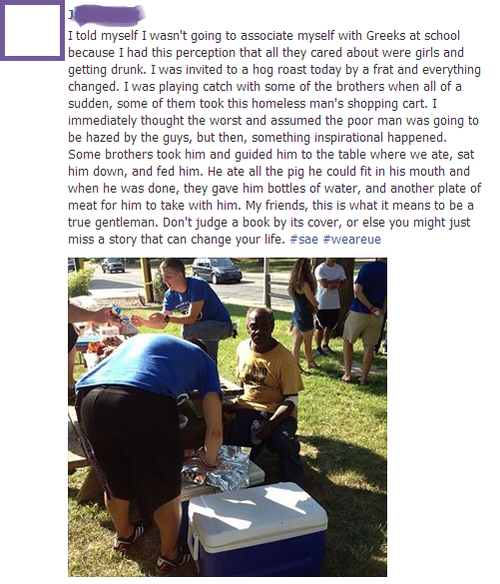 frat boys feed a homeless man