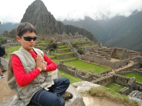 Tristen our 12 year old soul searching at Machu Piccu
