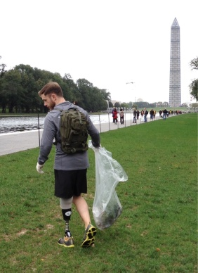 a Wounded Warrior who walked three miles today picking up trash.