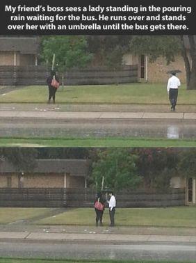 kind man shares his umbrella