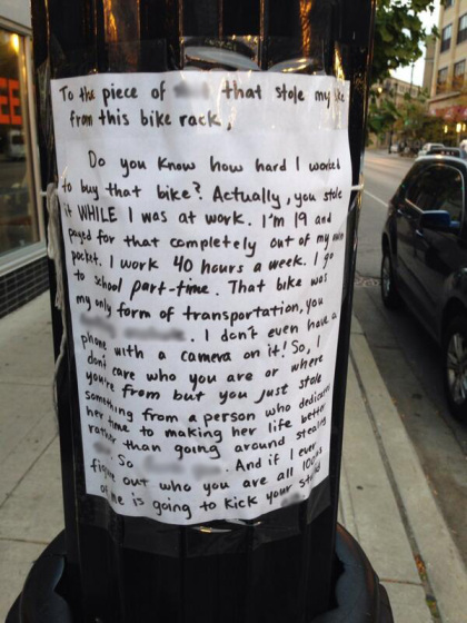 angry note to a bicycle thief