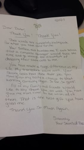 letter to a bone marrow donor