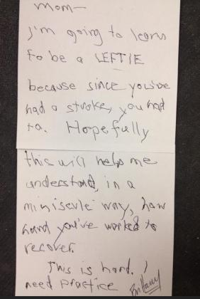 a little girl writes to her mum, who has just had a stroke, about practicing left handed writing