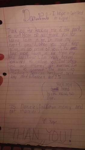 a letter my Fiancee's daughter wrote to me tonight before she ran to bed