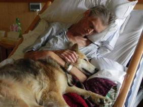 a dying mand and his loyal dog sharing last moments together