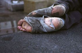 homeless person's feet