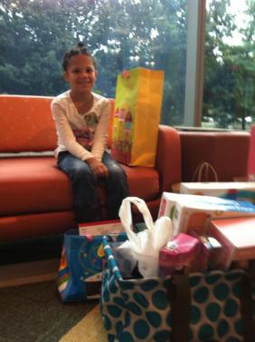 LevineChildren'sHosp ‏@LevineChildrens 7h Kyla shared her 6th birthday gifts with our patients. What a rock star! Thanks for your kindness, Kyla!