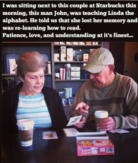 man teaching his wife to read the alphabet again