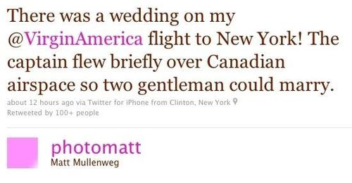 Plane diverted so two gentlemen could marry