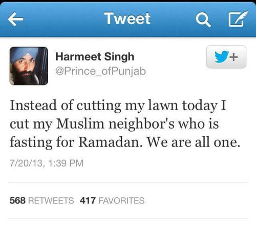 sikh cuts a muslim man's lawn as it's ramadan -  kindness