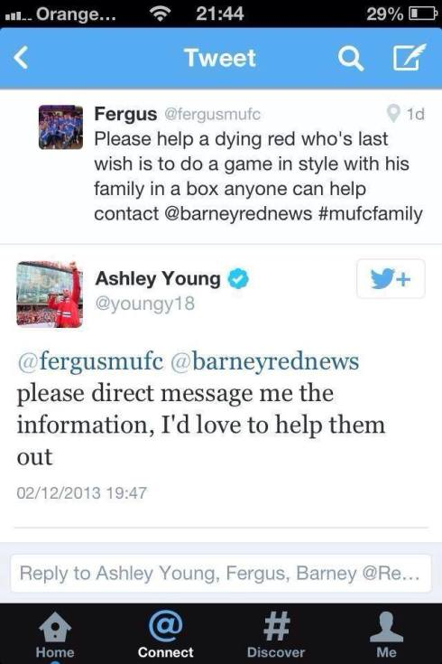 ashley young, manchester united footballer, helps a dying fan