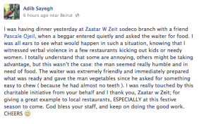 waiter feeds a hungry beggar - facebook status - kindness