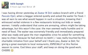 waiter feeds a hungry beggar - facebook status - kindness