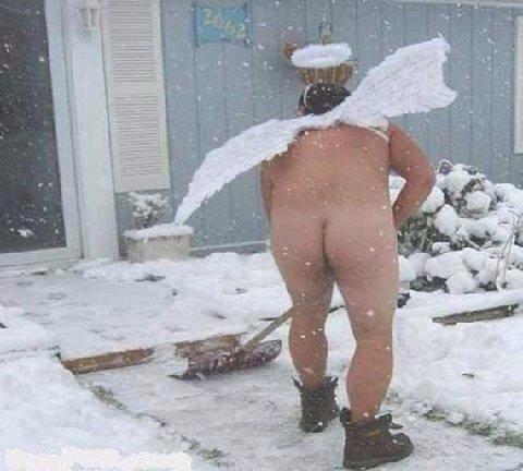 naked man shovels snow -kindness