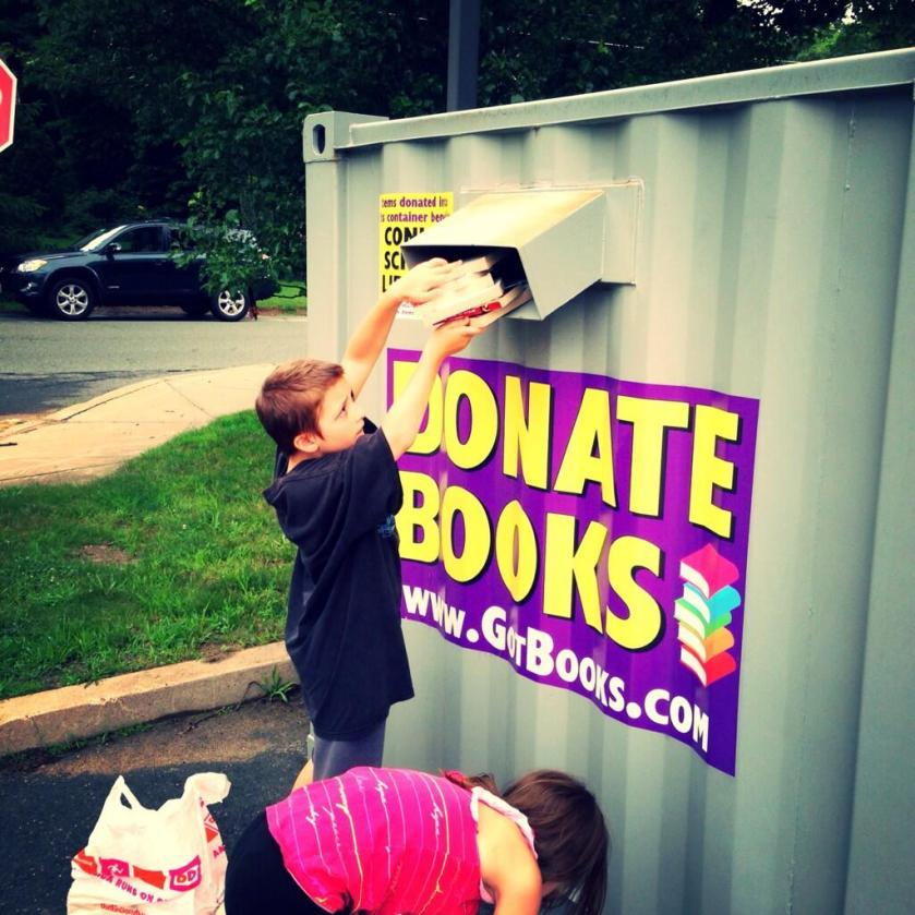 kids donating books for ther kids - kindness