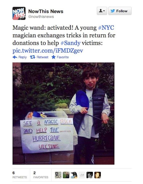 boy does magic tricks to raise money for hurricane sandy