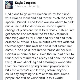 anonymous stranger pays for veterans meals in restaraunts