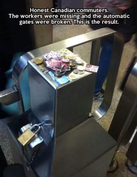 honest canadian commuters - kindness