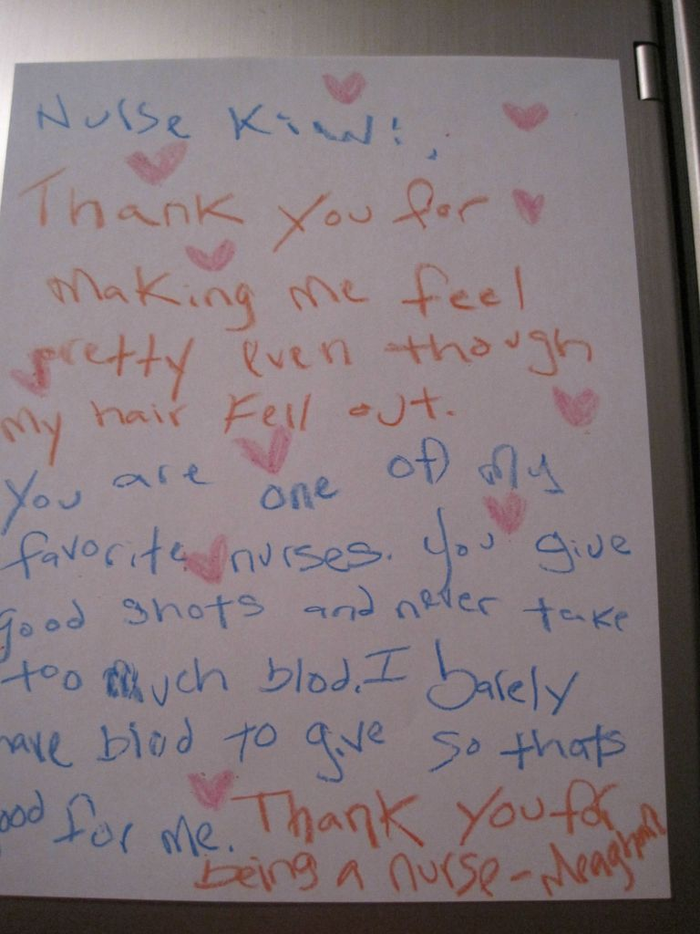 letter from a child with cancer to their nurse