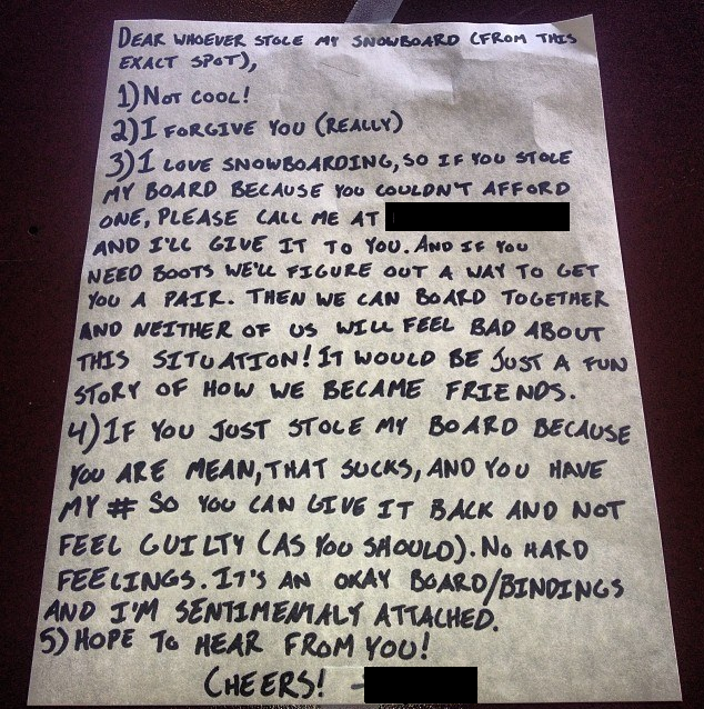 """My buddy posted this note to his snowboard thief, can't say I would have handled it the same way."""