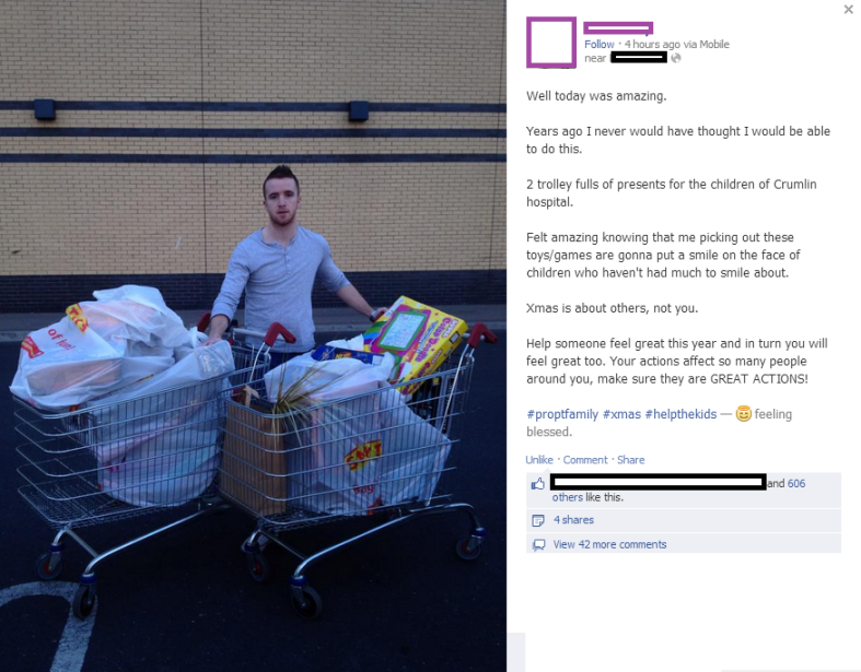 Random act of kindness by a local personal trainer. It really can make that crucial difference