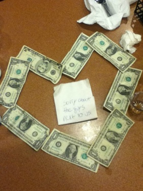 This was found on reddit. The guys next to them left the waitress 40 cents. Faith in humanity restored.