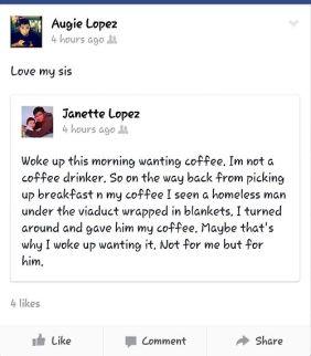 Love my sister status update - coffee - love