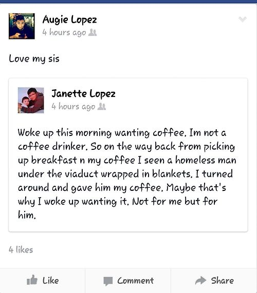 Love my sister status update - coffee - love