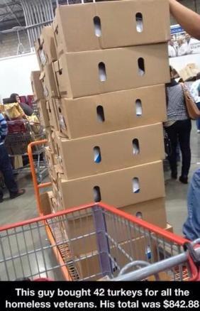 man buys 42 turkeys for homeless veterans