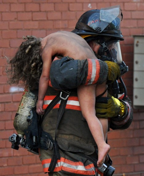 A firefighter saves a girl just in time