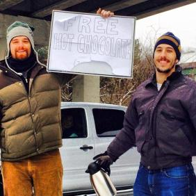 """The hot chocolate guys, I've received a few messages about these guys serving hot cocoa to stranded motorists on I-75 Georgia. We now know the men behind the kindness are Zach Haedt and Sam Tarquina. LIKE this! It's a great way to say thanks to all the people doing nice things in the #GeorgiaSnow, #suspendedcoffees"