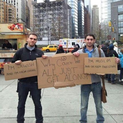 jew and palestinian ask why we can't all just get along