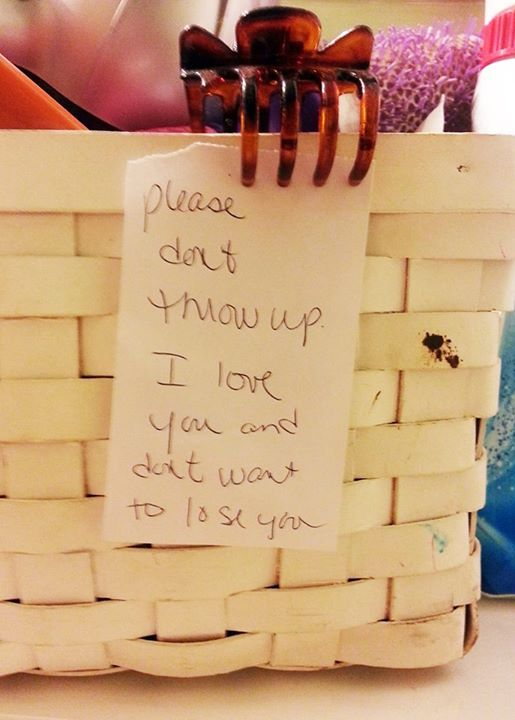 """Charidy shared this photo and wrote:  """"A heart-breaking but also beautiful note left in the bathroom by a mother of a girl with bulimia.  We all have struggles, but it's wonderful to see that some people will do so much to help support those they love through those struggles."""""""